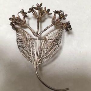 Jewelry - Sterling Silver Filigree Flower Brooch Tested
